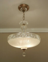 Vintage 1940s Ceiling Light Fixture Winter White Glass Shade Chandelier Brass $395.00