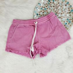 Aerie Womens Cut Off Short Jeans Shorts Size XS Pink Pull On Drawstring Stretch $11.15
