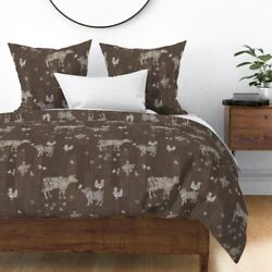 Barn Wood Floor Modern Farmhouse Animals Country Sateen Duvet Cover by Roostery $204.00