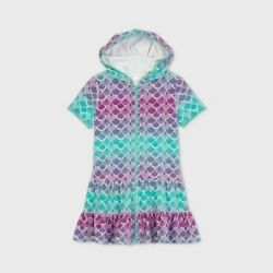 Girls Mermaid Scale Hooded Cover Up Cat amp; Jack Multicolor Size M 7 8 $8.49