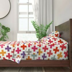 Colorful Plus Signs Geometric Medical 100% Cotton Sateen Sheet Set by Roostery $224.00