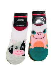 2 Pairs Women's No Show Socks Shoe Liners Set Size Shoes 5 9 Novelty Animals $9.98