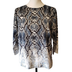 The Limited blue black ivory snakeskin print top...side zippers XS $9.99