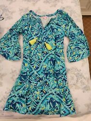 Lilly Pulitzer Green Blue Dress with Tassels Gently Worn