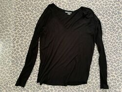 Vince Cotton Black Long Sleeve Shirt Size L