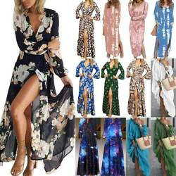 Women Long Sleeve Floral Maxi Dress Ladies Holiday Beach Party Gown Long Dresses $17.57