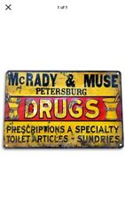 "TIN SIGN quot;Drugs"" Pharmacy Vintage Decor Meds Mancave Rustic Pills Prescription G $7.35"