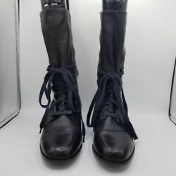 Enzo Angiolini Womens Boots Black Round Toe Block Heel Lace Up Mid Calf 10 $23.69