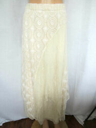 Chico#x27;s Skirt Size 1 Small Ivory Crochet amp; Lace Fully Lined $39.00