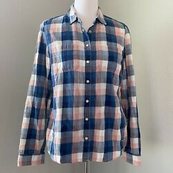 TOMMY HILFIGER Womens Size Small Flannel Blue Plaid Pearl Buttons Shirt $7.99