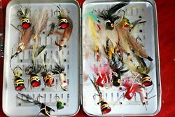 VINTAGE PERRINE FLY FISHING BOX WITH FLIES AND POPPERS LOADED TROUT PANFISH $39.99