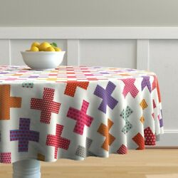 Round Tablecloth Colorful Plus Signs Geometric Medical Crosses Cotton Sateen $94.00