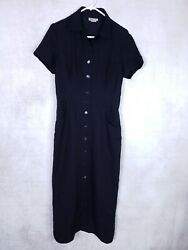 Vtg Robbie Bee Size 10 Full S S Button Front Long Dress Black Mother of Pearl $12.99