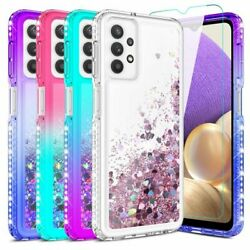 For Samsung Galaxy A32 5G Case Liquid Bling Hybrid Phone Cover Glass Protector $9.99