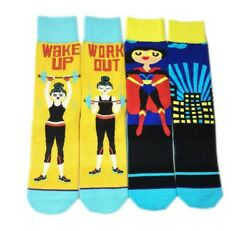 2 Pairs Women Novelty Fun Cotton Crew Socks Work out and Super Design $19.99