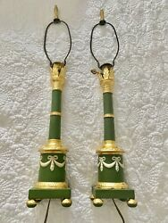 VINTAGE RARE GOLD GREEN JASPERWARE ITALY PAIR TABLE LAMPS $185.00