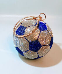 Rhinestone Soccer Ball Women's Crossbody Handbag Purse Clutch NEW