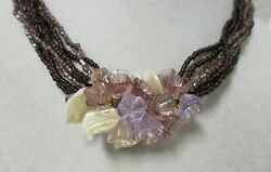Vintage Gold Tone Multi Strand Purple Seed Bead amp; Lucite Flowers Necklace $19.99
