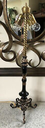 """Antique Victorian Table Lamp Brass and Metal 30"""" tall $149.00"""