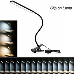 LED Clip On Desk Table Touch Sensor Rechargeable Dimmable Reading Light Lamp $13.91