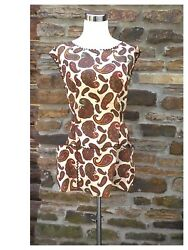 Womens Apron Kitchen Full Coverage Hip Length Paisley Cotton Country Brown $12.00