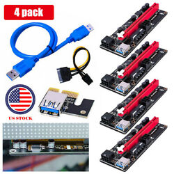 4x GPU Riser Extender Adapter Card Cable PCI E 1x to 16x Powered USB3.0 VER 009s $11.55