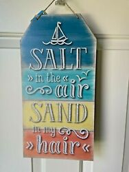 Beach House Cottage Rustic Home TAG Sign Decor SALT IN THE AIR SAND IN MY HAIR $12.97