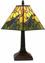 Tiffany Style Table Lamp Small Square Dragonfly Orange Green Blue Stained Glass $99.95