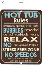 "TIN SIGN quot;Hot Tub Rules"" Vintage Decor Mancave Swim Pool Humor Comedy Jacuzzi $7.35"