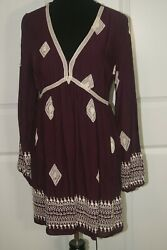 Chelsa amp; Violet Boho dress size L burgundy mini dress embroidered Tunic Top $24.99
