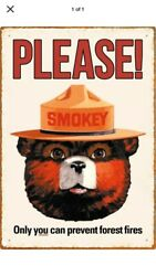 "TIN SIGN quot;Smoky Bear"" Ranger Vintage Fire Safety Camping Mancave Rustic Decor BY $7.35"