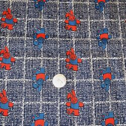Fabric Vtg Rabbits Bunnies Novelty Kids Print 2 Yds x 44quot; Red White Blue Cotton? $18.99