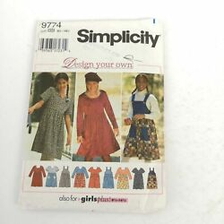 Simplicity Pattern 9774 Teen Dresses Jumper Sz 8 to 16 Make Own Design Uncut