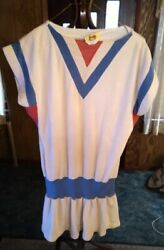 Vintage 70s Georgy#x27;s White Terry Cloth Bathing Suit Cover Up Dress $22.95
