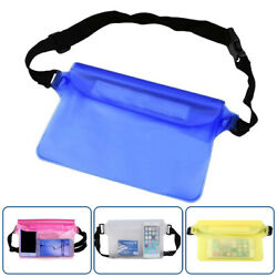 Waterproof Pouch Waist Dry Bag 3 Zippers Lock Swimming Hiking For Cell Phone US $5.39