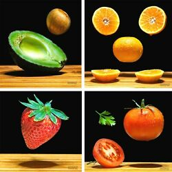 Kitchen Canvas set Fruits Vegetables of 4 8x8 Inch Wall Art Decor Gift Ideas $45.00