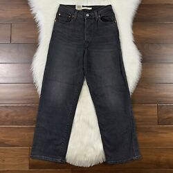 Levi#x27;s Women#x27;s Size 26 Worse For Wear Black Ribcage Straight Ankle Denim Jeans $62.95