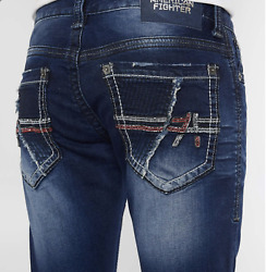 NEW Defender Aspect Stretch Jean AMERICAN FIGHTER BUCKLE SABER WASH SZ 32R X 31