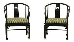 52060EC: Pair CENTURY Asian Inspired Black Lacquer Armchairs $1195.00