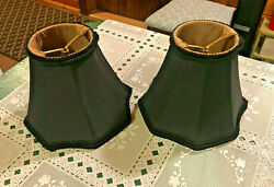 SET of 2 MINI CHANDELIER SHADES BLACK FABRIC GOLD LINING CLIP ON 5quot; HIGH $15.00