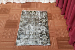 Vintage Oriental Hand Knotted Traditional Geometric Distressed Wool Area Rug 2x3 $154.00