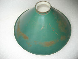Antique 10 quot; Green Industrial Tin Cone Light Shade Socket Fitter $20.00