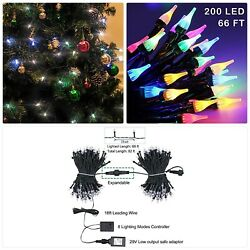 Twinkle Star Outdoor String Lights Christmas Lights 200 LED 66ft Mini Green Wire