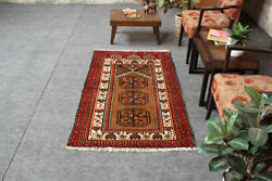 Traditional Vintage Oriental Hand Knotted Red Wool Geometric 3x5 Area Rug Carpet $171.00