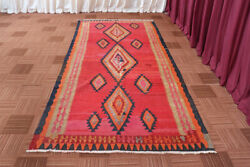 Vintage Oriental Handmade Geometric Red Traditional Wool Kilim 5x11 Area Rug $499.00