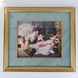 Franz Lefler Antique Framed Art Wedding of Amor Vintage Frame 19x18 Inch $185.00