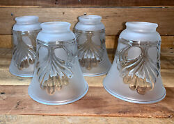 Set of 4 Frosted Shell Fan Glass Bell Shaped Replacement Globes $19.99