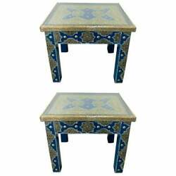 Hollywood Regency Style Moroccan Brass Blue Rectangular Side or End Table Pair $3200.00