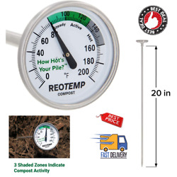 Backyard Compost Thermometer 20 Inch Stem with PDF Composting Guide Fahrenheit $31.62