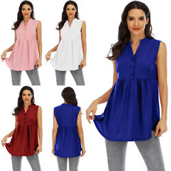 Women Summer Button Sleeveless Vest Tank Holiday Party Tunic Causal Loose Tops $17.99